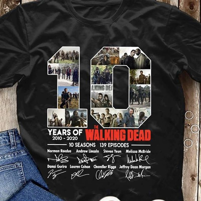 10 Years Of The Walking Dead 2010 2020 Signatures T-shirt Black