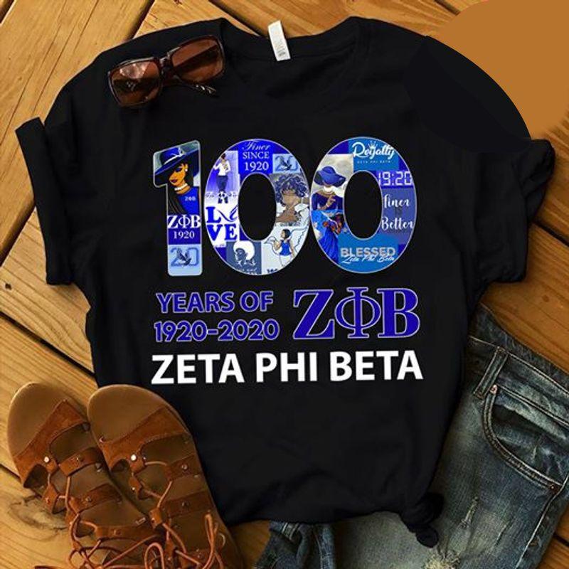 100 Years Of 1920-2020 Zb Zeta Phi Beta T Shirt Black