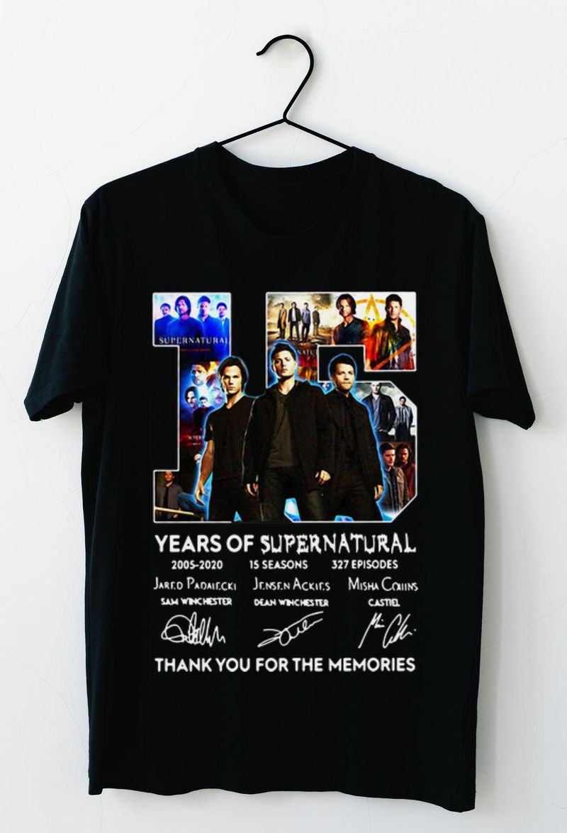 15 Years Of Supernatural 2005 - 2020 15 Seasons 327 Episodes Thank You For The Memories Signatures Shirt Black