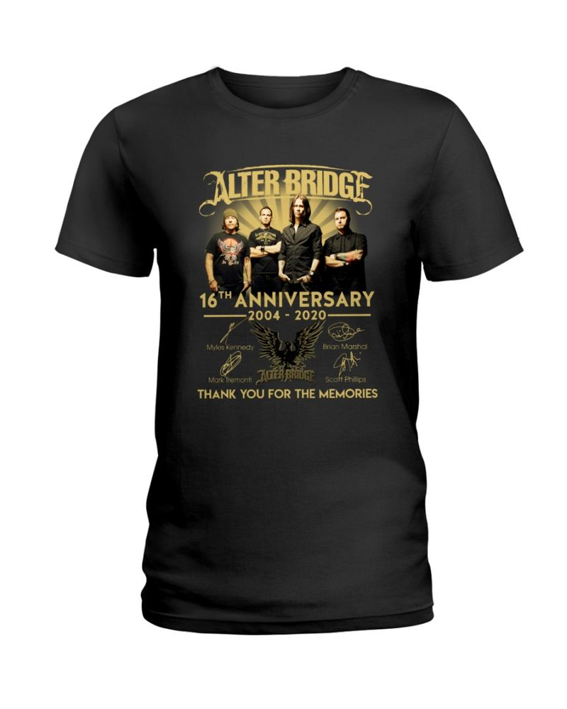 16th Anniversaty Of Alter Bridge Thank You For The Memories Signature Black T Shirt Men And Women S-6XL Cotton