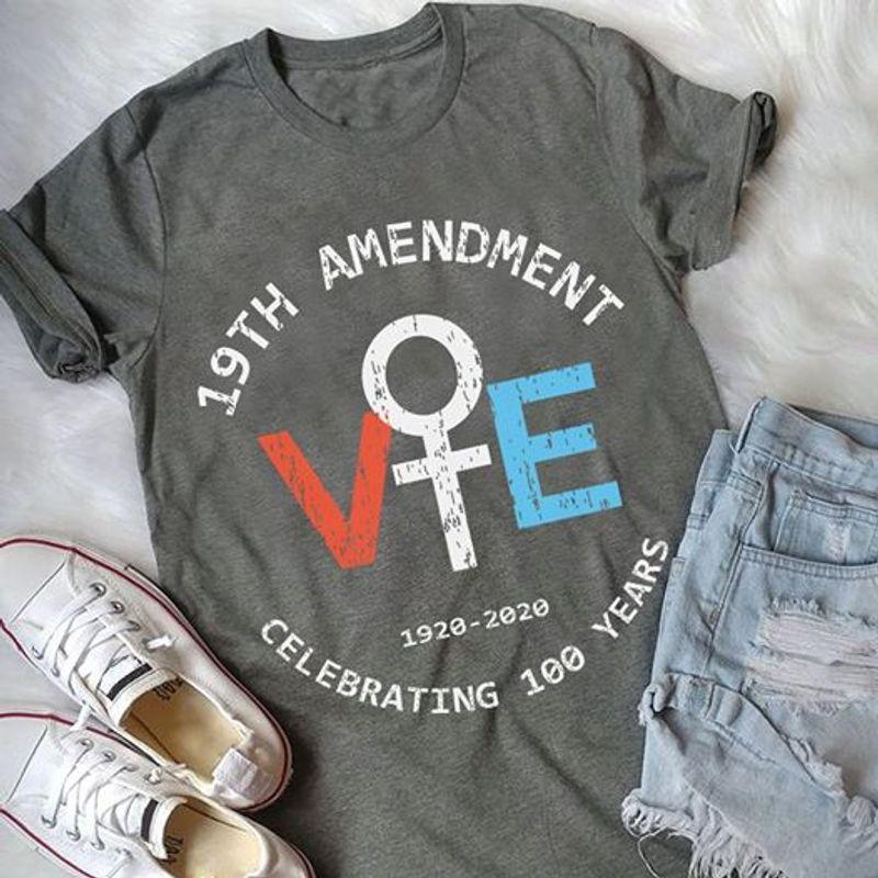 19th Amendment Celebrating 100 Years T-Shirt Grey A5