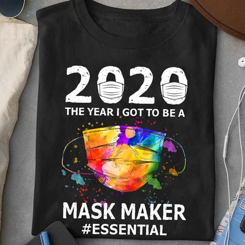 2020 The Year I Go To Be A Face Covering Maker Swing Life Black T Shirt Men And Women S-6XL Cotton