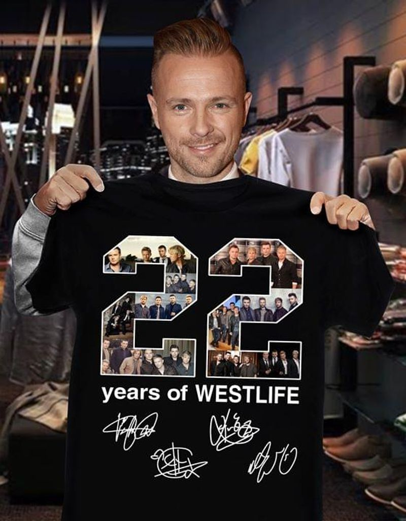 22 Years Of Westlife Signatures Black T Shirt Men/ Woman S-6XL Cotton
