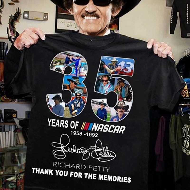 35 Years Of Nascar 1958 1992 Richard Petty Thank You For The Memries T-shirt Black B1