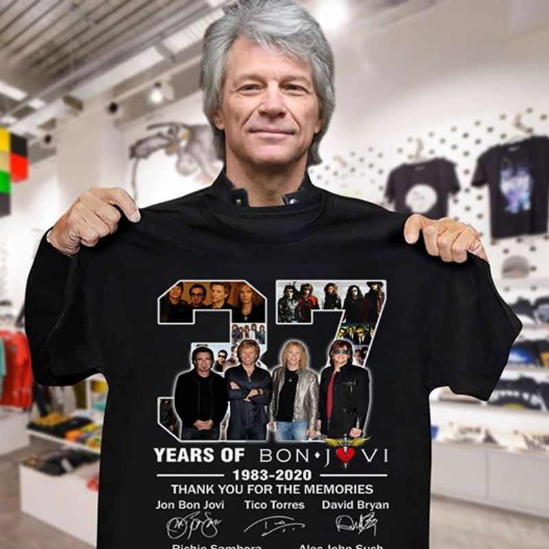 37 Years Of Bon Jovi 1983 2020 Thank You For The Memories Signatures T Shirt Black
