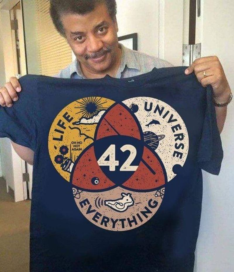 42 Is The Answer For Life Universe Everything The Hitchhiker's Guide To The Galaxy Quote Navy T Shirt Men And Women S-6XL Cotton