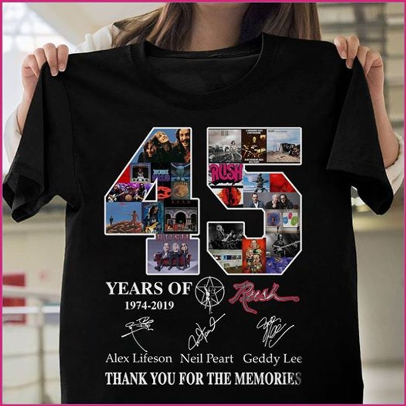 45 Years Of 1974 2019 Alex Lifeson Neil Peart Geddy Lee Thank You For The Memories T-shirt Black