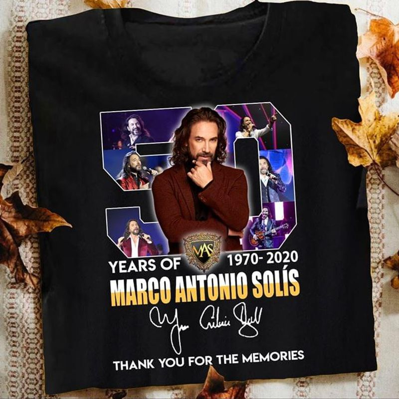 50 Years Of Marco Antonio Solis Thank You For The Memories Signatures Black T Shirt S-6XL Mens And Women Clothing