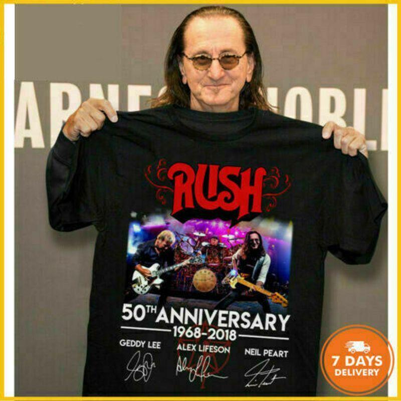 50Th Anniversary Rush-Band Classic Black T-Shirt