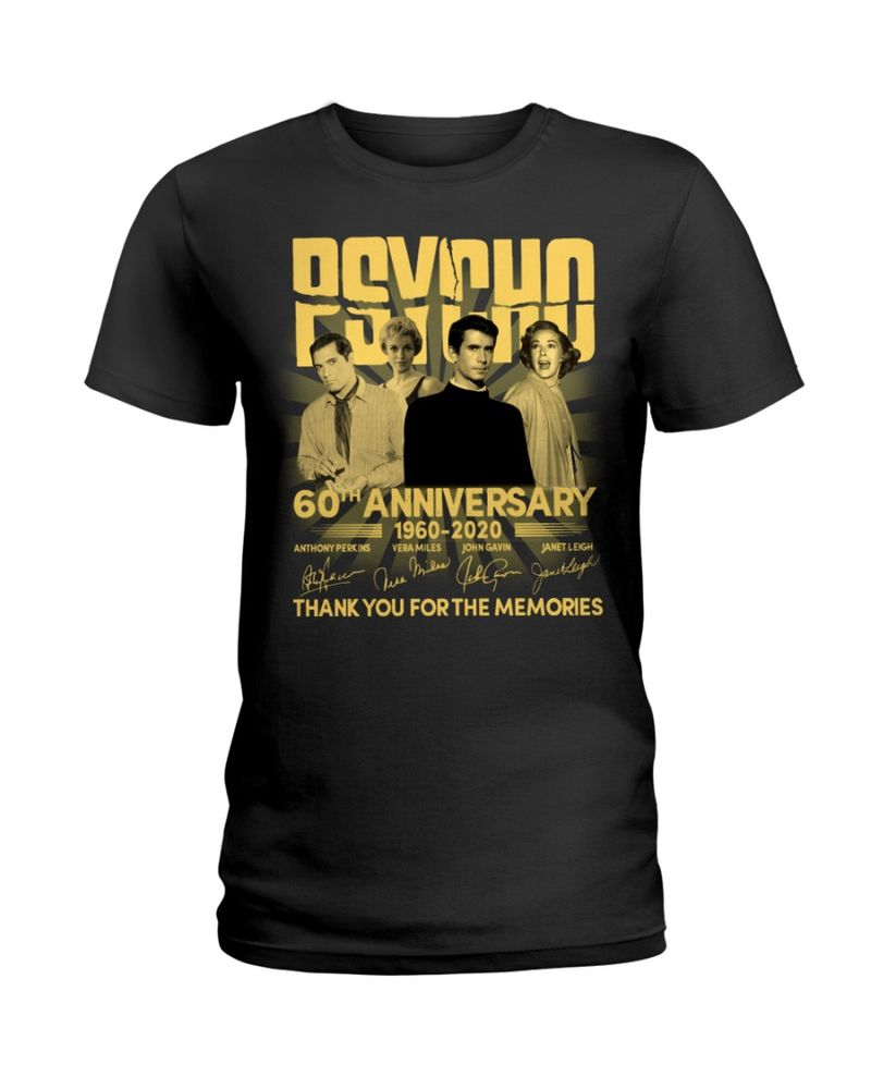 60th Anniversary Of Psycho Thank You For The Memories Signature Black T Shirt Men And Women S-6XL Cotton
