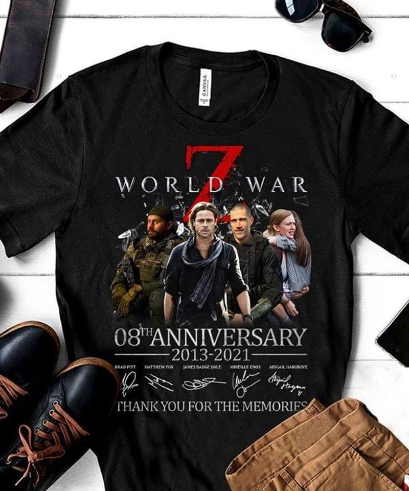 7 World War 08th Anniversary 2013-2021 T-Shirt 7 World War Signature Black T Shirt Men And Women S-6XL Cotton