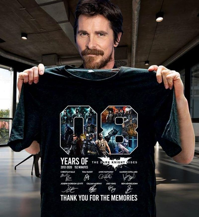 8 Years Of The Dark Knight Rises Thank You For The Memories Signatures Black T Shirt Men/ Woman S-6XL Cotton
