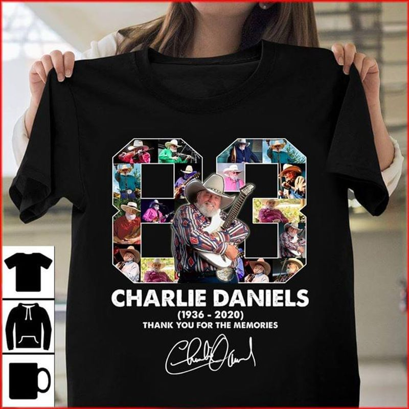83 Years Charlie Daniels 1963 To 2020 Signature Thank You For The Memories Black T Shirt Men And Women S-6XL Cotton