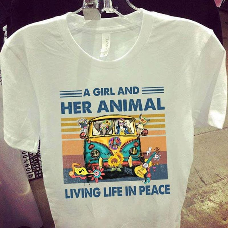 A Girl And Her Animal Living Life In Peace Vintage White T Shirt Men And Women S-6XL Cotton