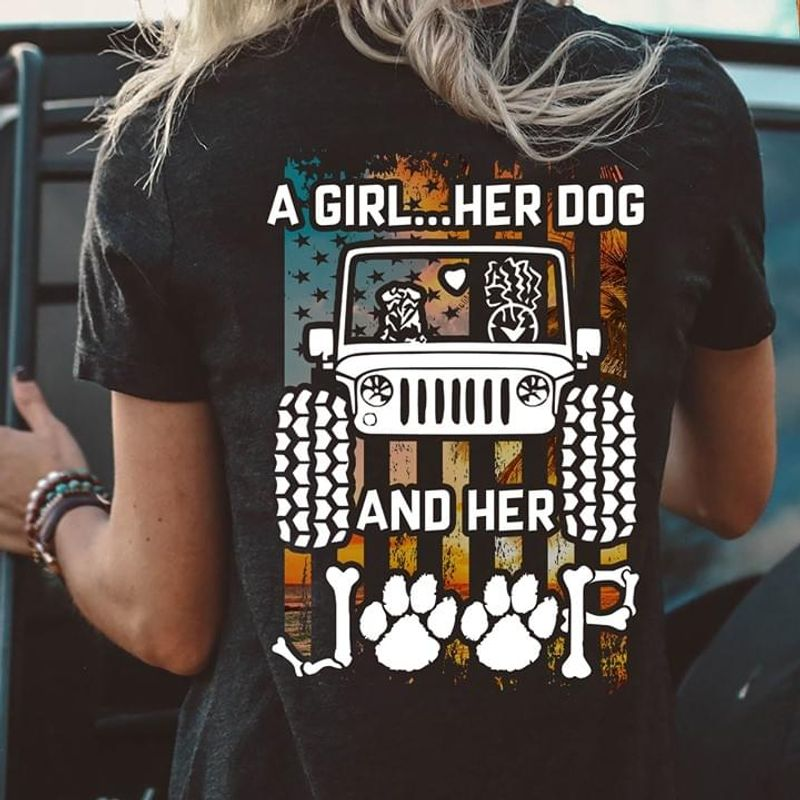 A Girl Her Dog And Her Jeep T-Shirt Black 2