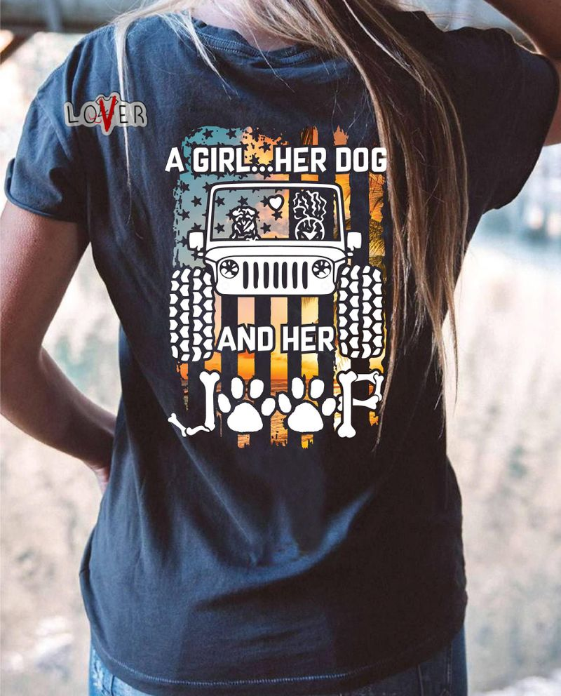 A Girl Her Dog And Her Jeep T-Shirt Black