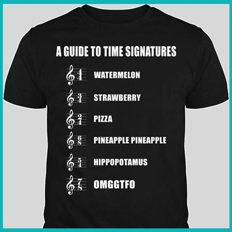 A Guide To Time Singatures Water Melon Pizza Hippopotamus Omgtfo   T-shirt Black B1