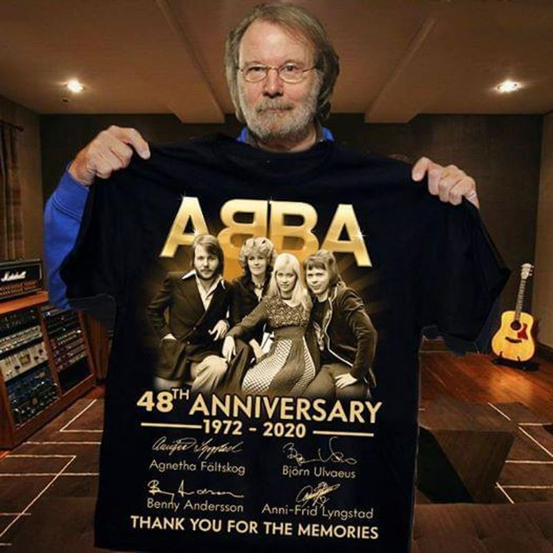 ABBA 48th Anniversary Signatures 1972 2020 Thank You For The Memories T Shirts Black
