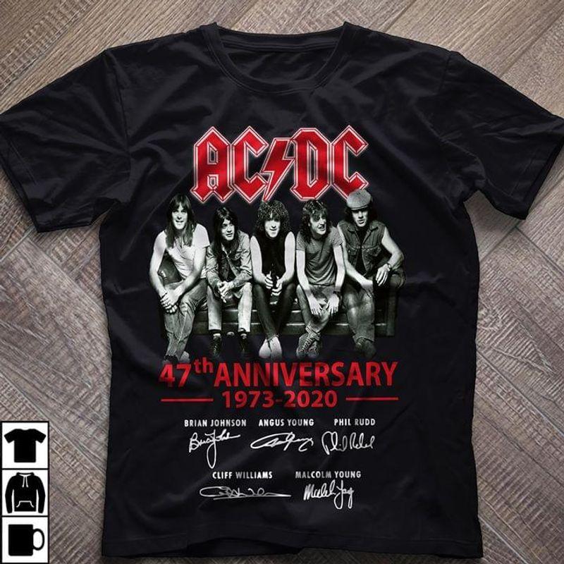 AC/DC 47th Anniversary Signatures Black T Shirt Men/ Woman S-6XL Cotton