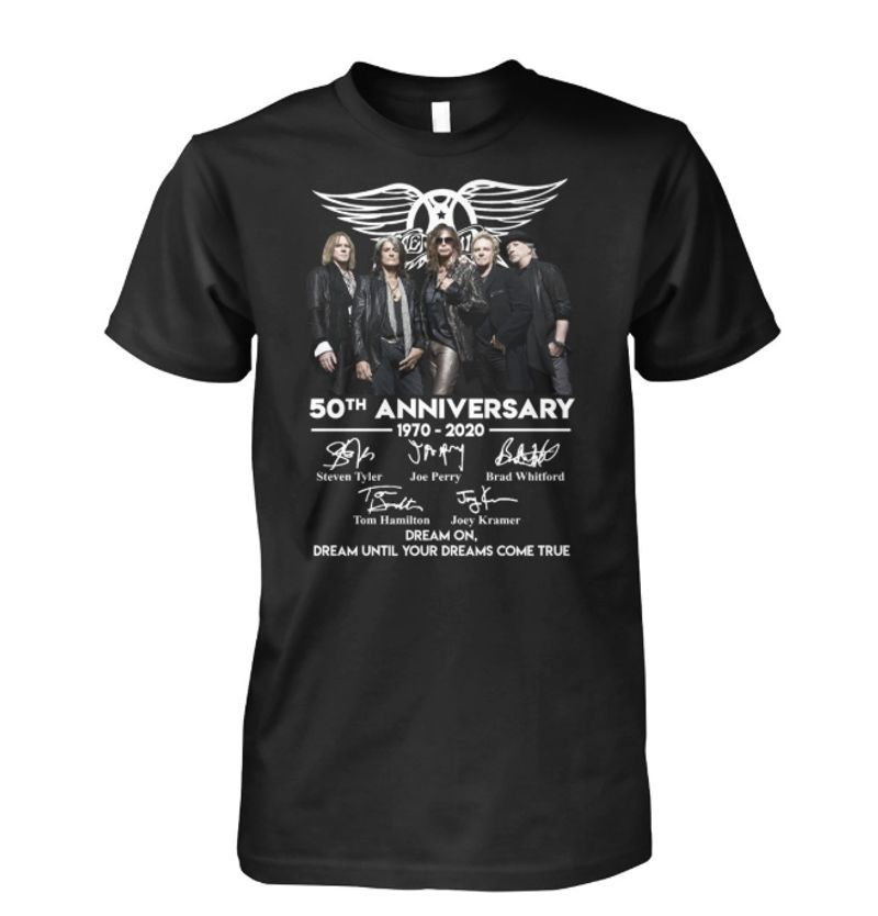 Aerosmith 50th Anniversary 1970 2020 Signatures Thank You For The Memories T-shirt Black