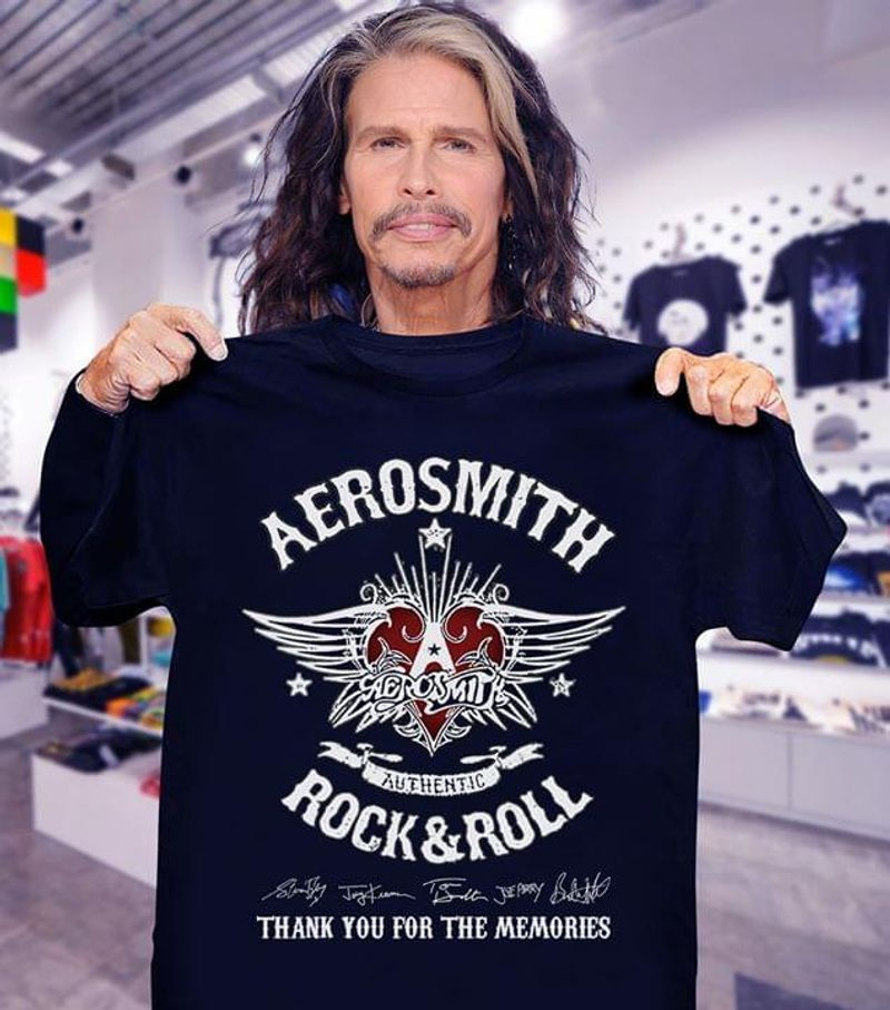 Aerosmith Authentic Rock And Roll Signature Thank You For The Memories Black T Shirt Men/ Woman S-6XL Cotton