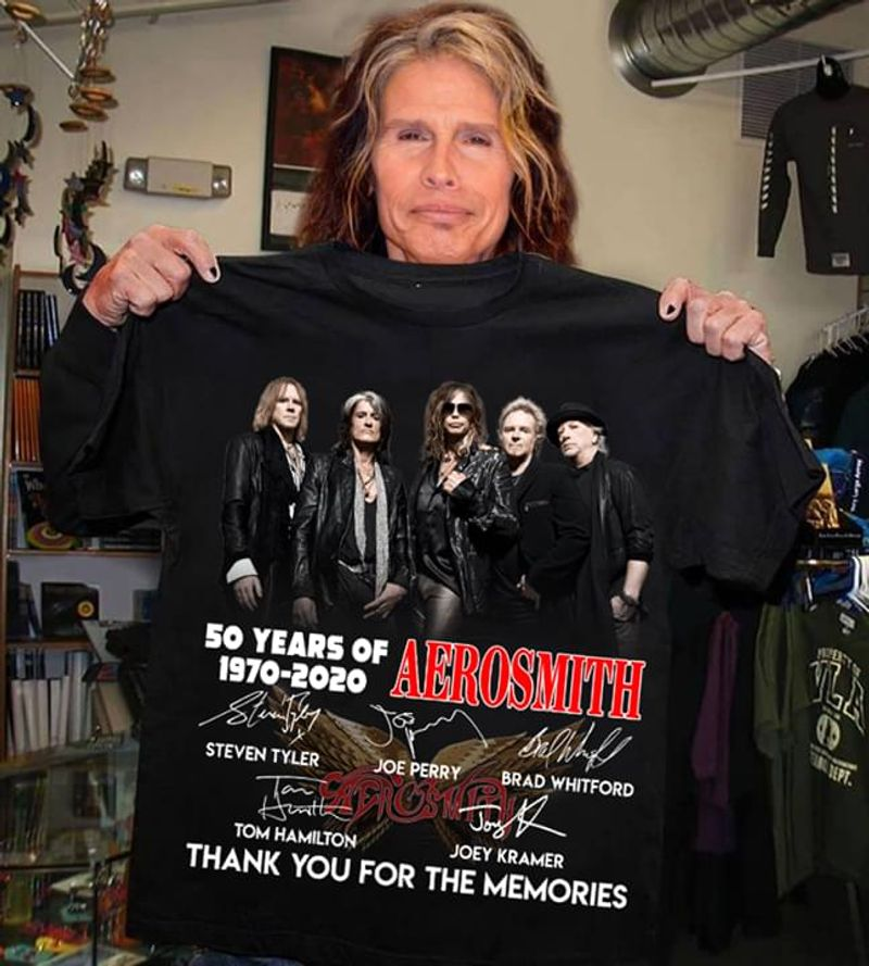 Aerosmith Fans 50 Years Of 1970 2020 Signature Thank You For The Memories Black T Shirt Men And Women S-6XL Cotton