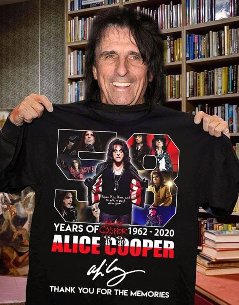 Alice Cooper 58 Years Of Alice Cooper Signature T Shirt S-6XL Men And Women Clothing