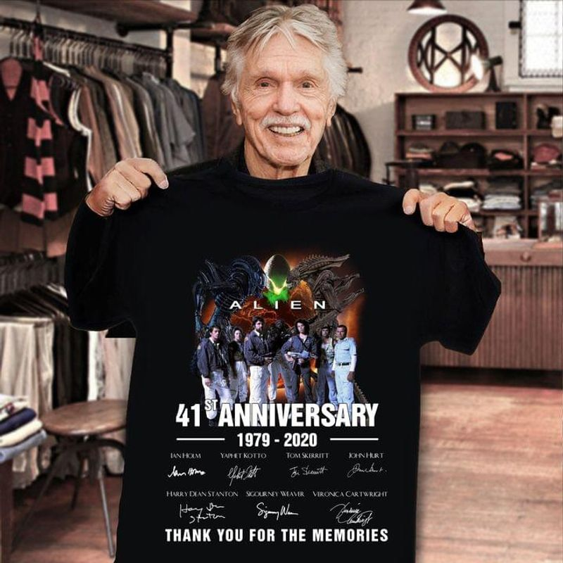 Alien Fans 41st Anniversary 1979 2020 Signatures Gift For Movie Lovers Black T Shirt Men And Women S-6XL Cotton