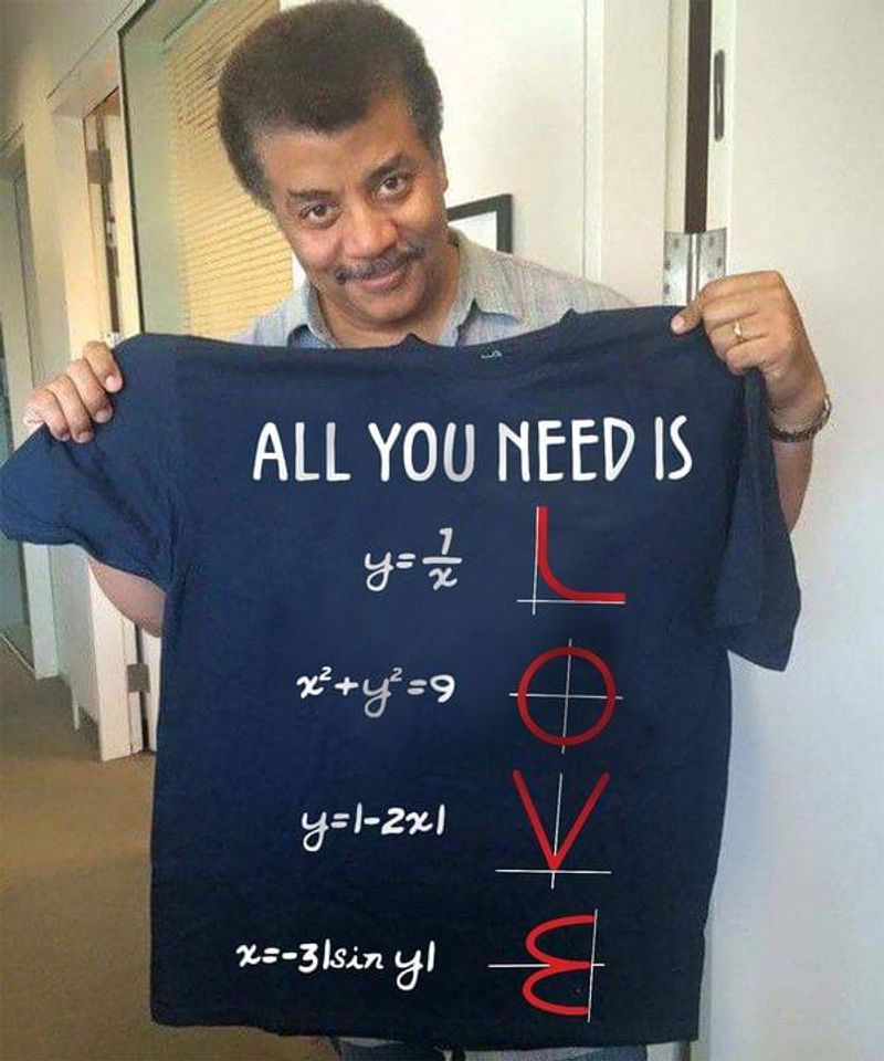 All You Need Is Love Math Graph Equations Math Equations Funny School T-shirt Design Navy T Shirt Men And Women S-6XL Cotton