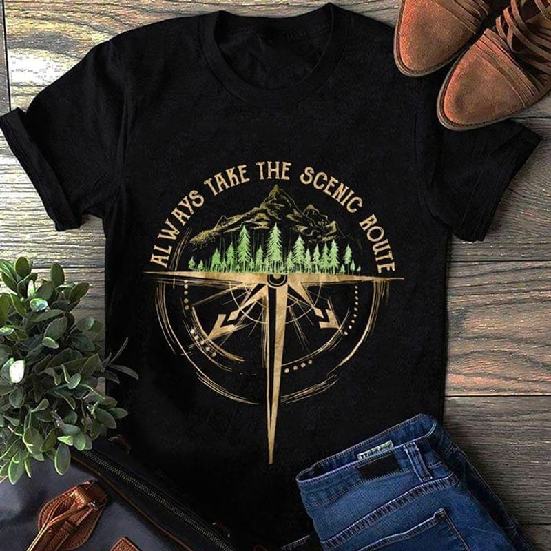 Always Take The Scenic Route Forest Compass T-shirt Black