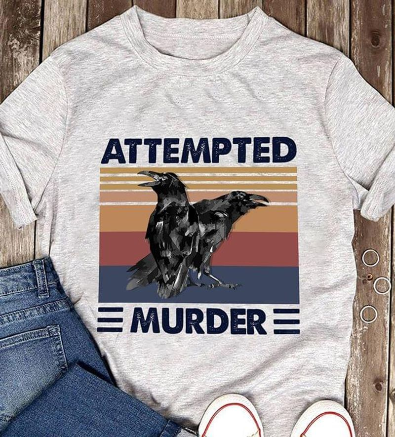 Amazing Trendy Tees Attempted Murder Crow Couple Animal Vintage Grey T Shirt Men And Women S-6XL Cotton