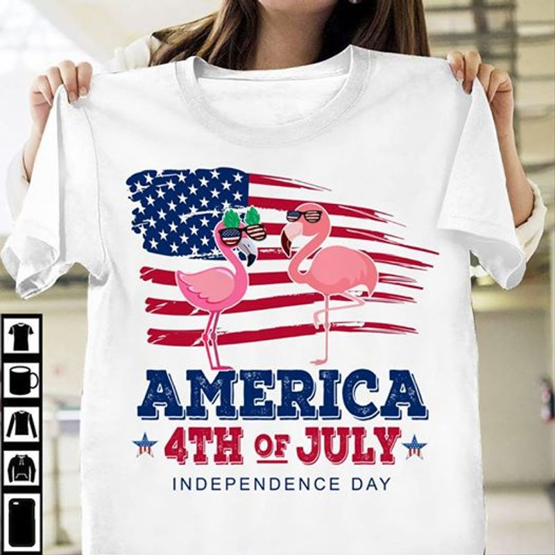 America 4th Of July Independence Day  T Shirt White B1