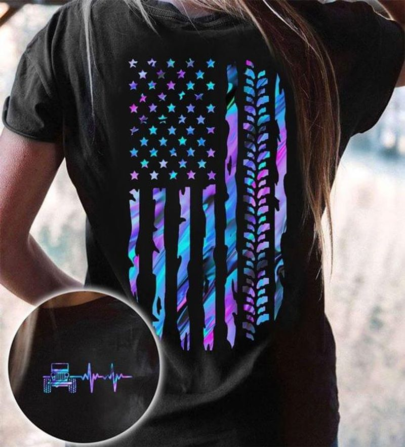 American Flag Independence Day Jeep And Heartbeat Black T Shirt Men/ Woman S-6XL Cotton