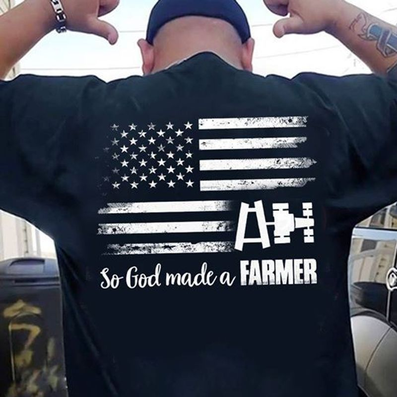 American Flag So God Made A Farmer T Shirt Black