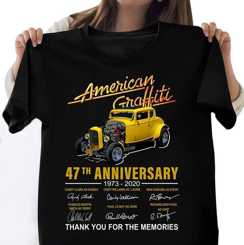 American Graffiti 47th Anniversary American Graffiti Signature Black T Shirt Men And Women S-6XL Cotton