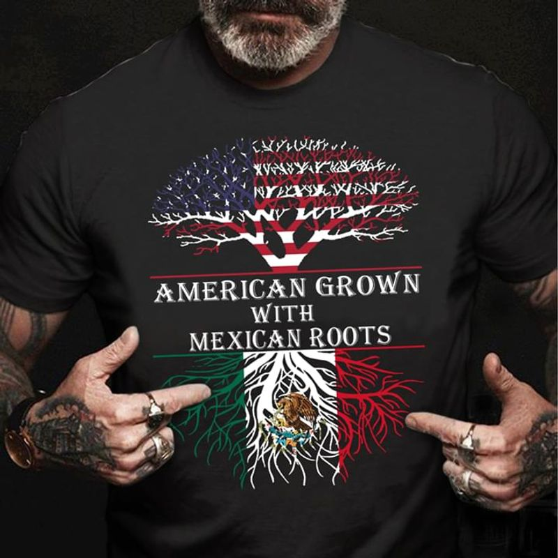 American Grown With Mexican Roots Independence Day 4th Of July Black T Shirt Men/ Woman S-6XL Cotton