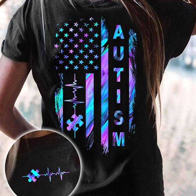 Amrican Flag Heart Beat Autism Awareness T Shirt Black