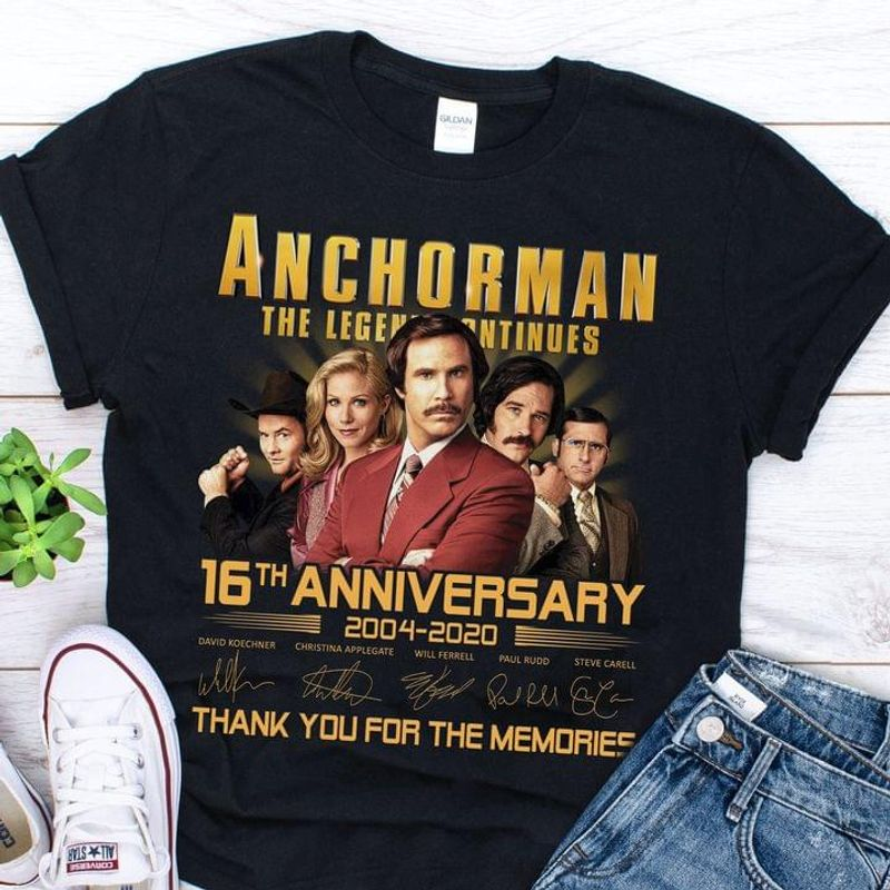 Anchorman The Legend Continues Signature 16 Years Anniversary Thank You For The Memories Black T Shirt Men And Women S-6XL Cotton