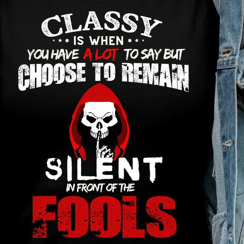 Anonymous Skull Silent In Front Of The Fools Bloody Funny Halloween Gift Black T Shirt Men And Women S-6XL Cotton