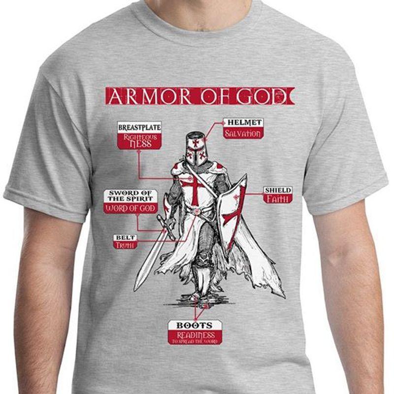 Armor Of God Breastplate Helmet Sword Of The Spirit  Shield Belt T Shirt Grey B4