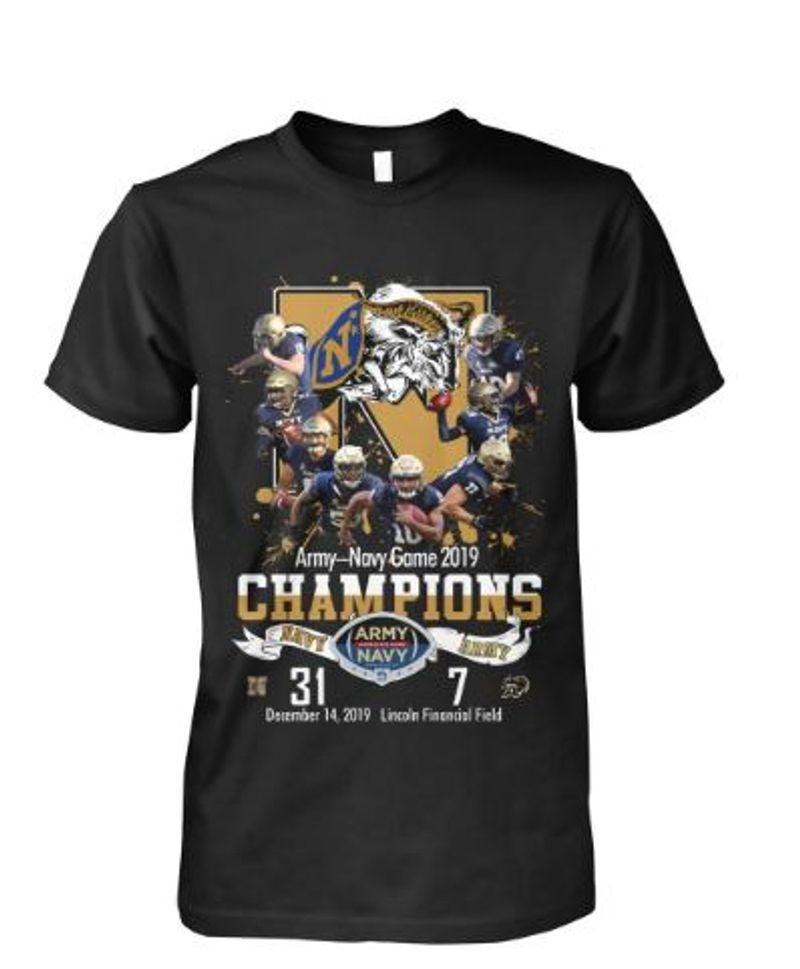 Army Novy Game 2019 Champions Navy Aramy Navy End 31 1 December  T-shirt Black B7