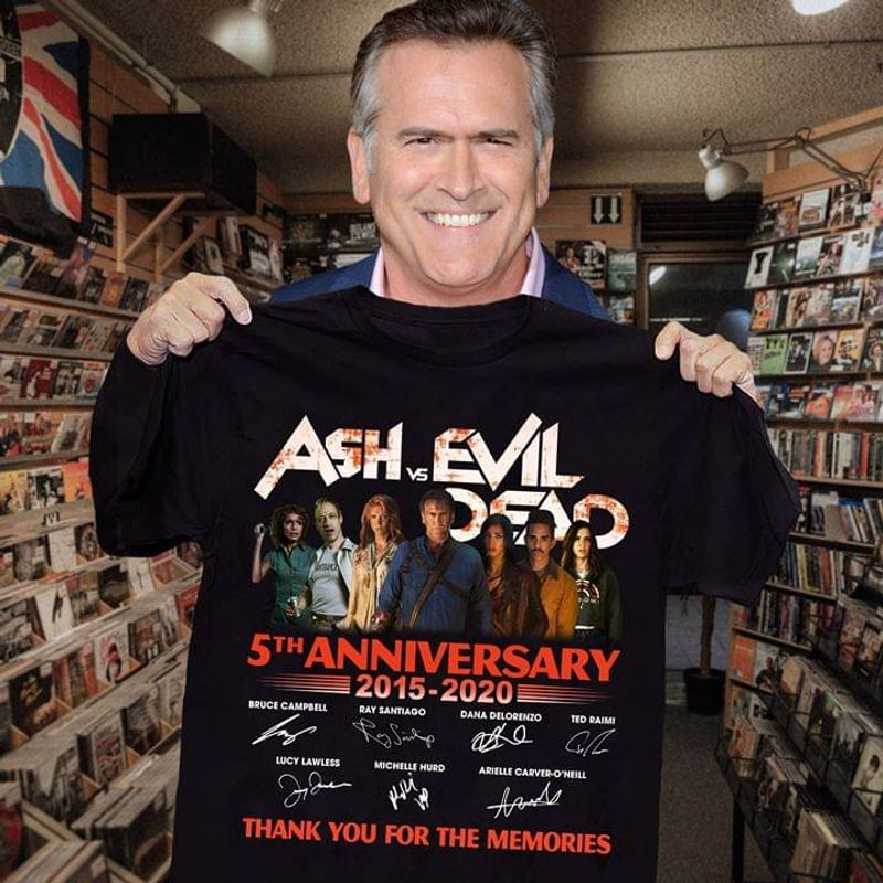 Ash Vs Evil Dead Fans 5th Anniversary 2015 2020 Signature Thank You For The Memories Black T Shirt Men And Women S-6xl Cotton