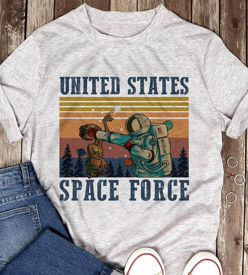 Astronaut Punch E.t United States Space Force T-shirt Grey