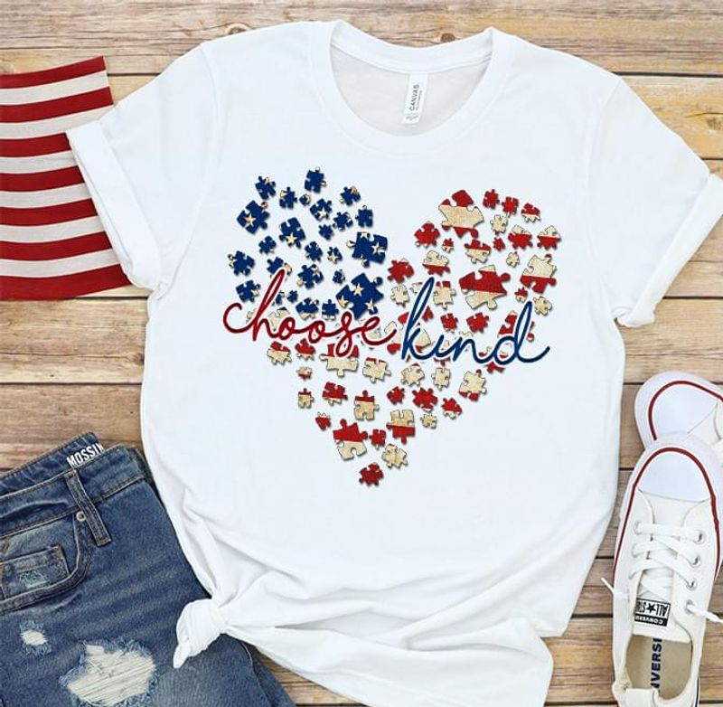 Autism American Heart Choose Kind 4th Of July Independence Day T Shirt Men/ Woman S-6XL Cotton