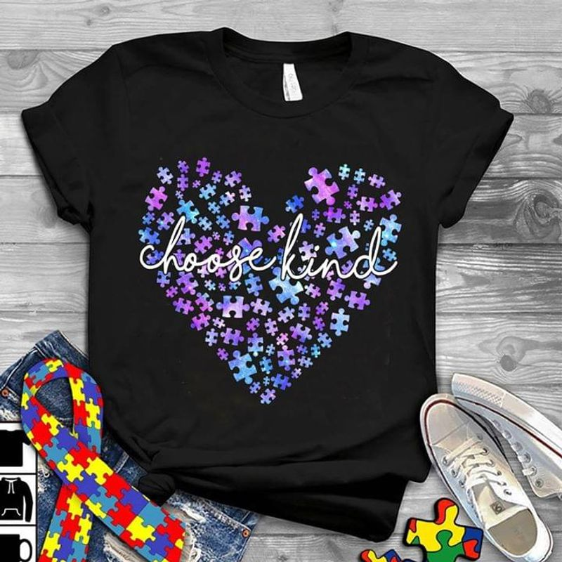 Autism Awareness Choose Kind Heart Version Black T Shirt Men/ Woman S-6XL Cotton