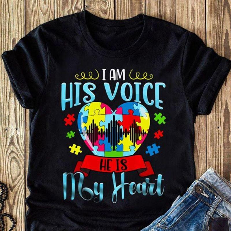Autism Awareness I Am His Voice He Is My Heart T-Shirt Autism Puzzle Heart Black T Shirt Men And Women S-6XL Cotton