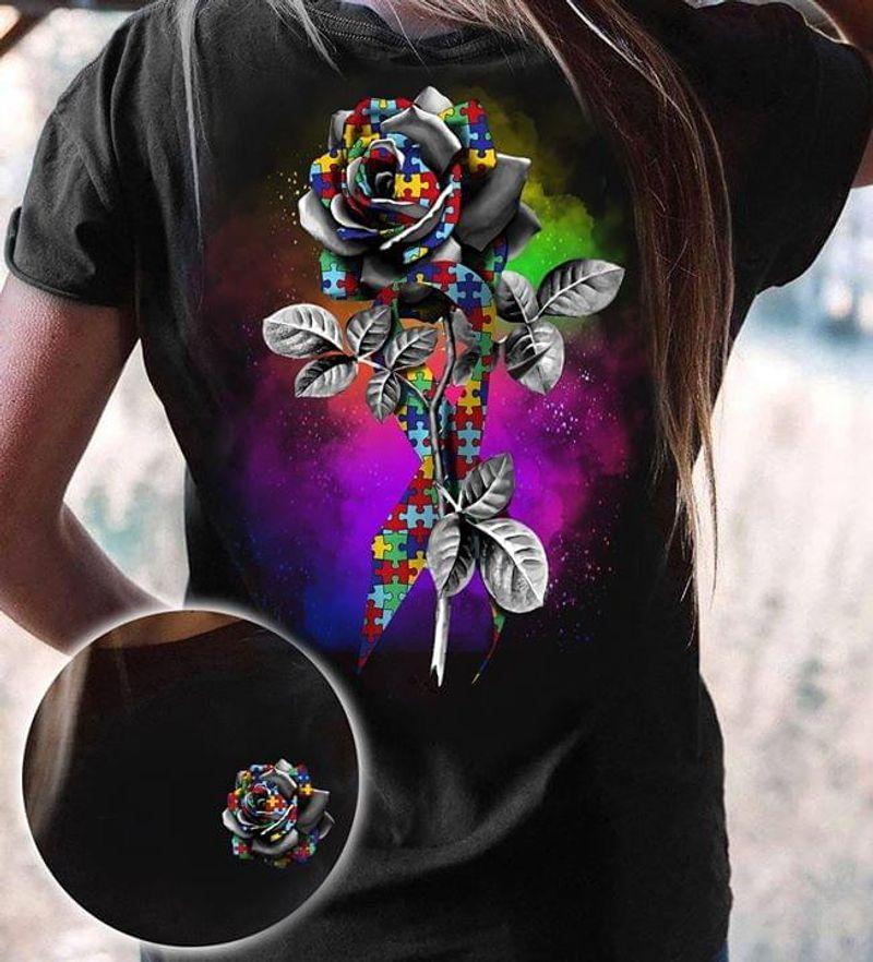 Autism Awareness Rose  Autism Support Cotton T Shirt Unisex Size S-6XL US