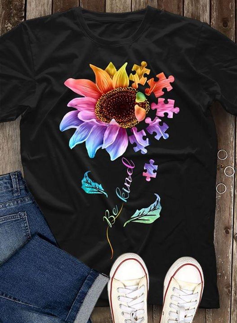 Autism Awareness Sunflowers Be Kind Puzzle Pieces Kindness Black T Shirt Men And Women S-6XL Cotton