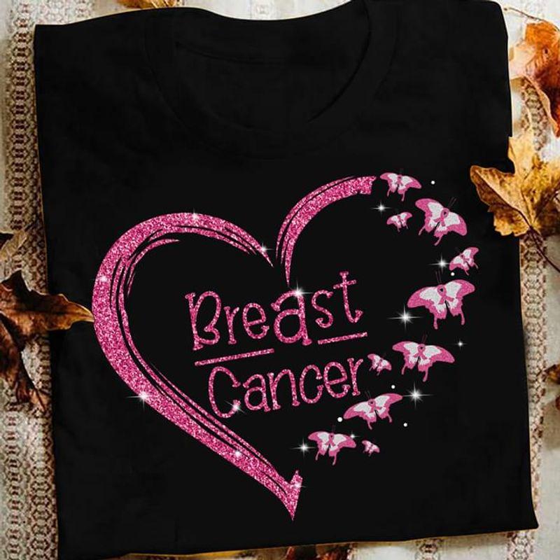 Autism Butterflies Heart Breast Cancer Awareness Black T Shirt Men And Women S-6XL Cotton