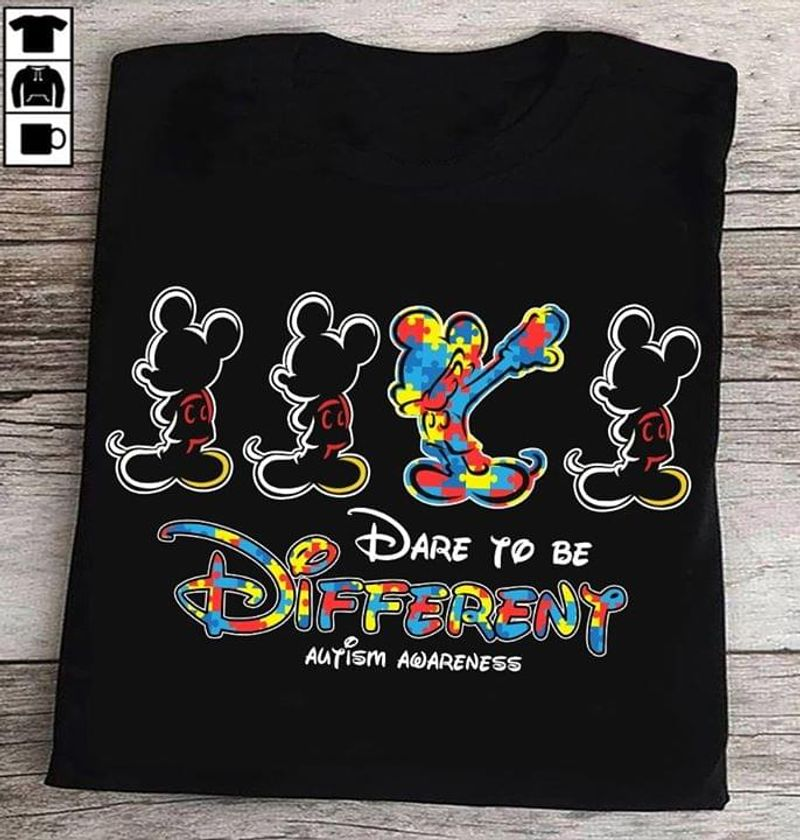 Autism Mickey Mouse Dabbing Dare To Be Different Autism Awareness Black T Shirt Men/ Woman S-6XL Cotton